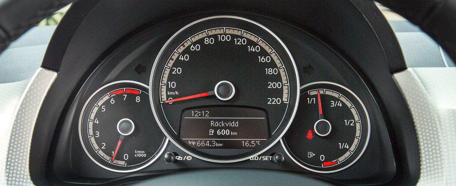Stor hastighetsmätare med tillhörande färddator i mitten, liten varvräknare till vänster och rund bränslemätare till höger. Konceptet känns igen från ur-Up, men grafiken har blivit snyggare efter uppdateringen.