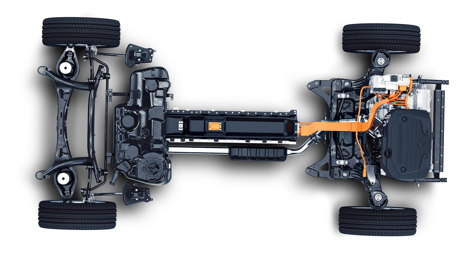 Så här ser en Volvo XC40 ut utan kaross. CMA-plattformen, som är förberedd för eldrift, är framtagen av CEVT. (Foto: CEVT).