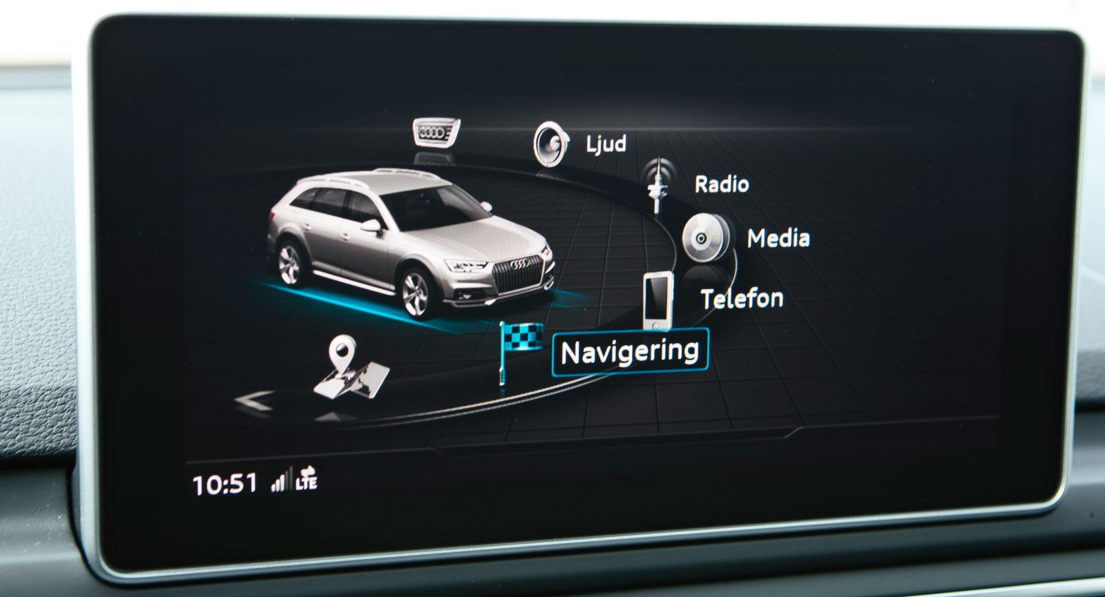 Hos Audi är medieskärmen inte nödvändig för föraren. Nästan all information som kan ses här kan även visas på den 12,3 tum stora skärmen framför ratten.