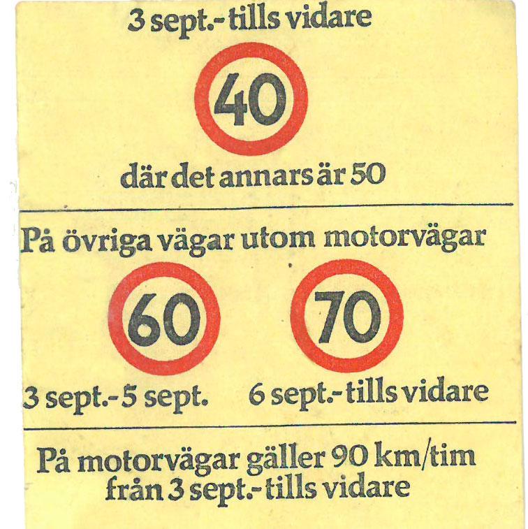 Det sas inte rakt ut men de tillfälliga hastighetsgränserna som infördes på Dagen H var slutet för den fria farten.