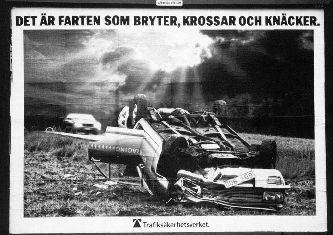 Fartfaran belystes med tydlighet i 1979 års trafikkampanj. Det året omkom 928 personer i trafiken. 2018 var siffran 325. foto: Vägsamlingen/SMTM