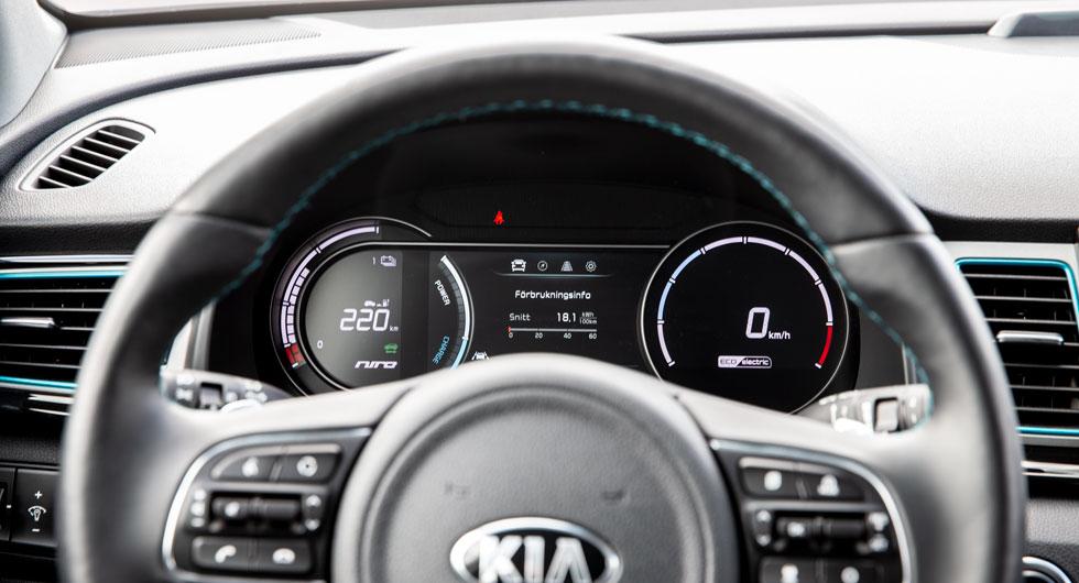 E-Niro har stöd för snabbladdning upp till 100 kW, vilket kan ge från 20 till 80 procent laddning på 40 minuter.