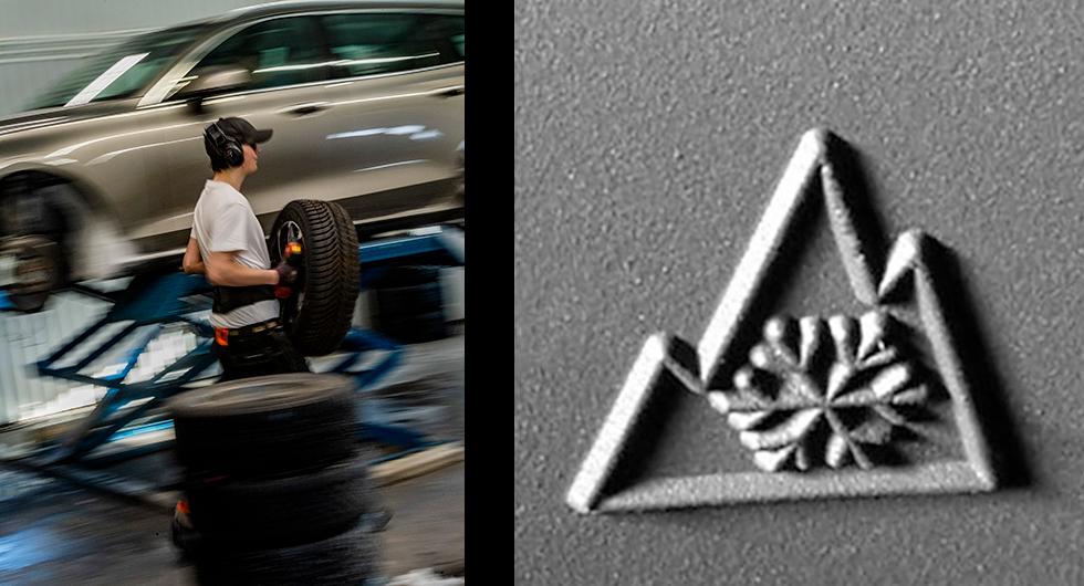 Till vänster: En fördel som nämns med året runt-däck är att man slipper skifta hjul två gånger per år. Dessutom försvinner omaket med förvaring. Problem som botas bäst med så kallade däckhotell.  Till höger: Nya märkningen Alptopp/snöflinga.