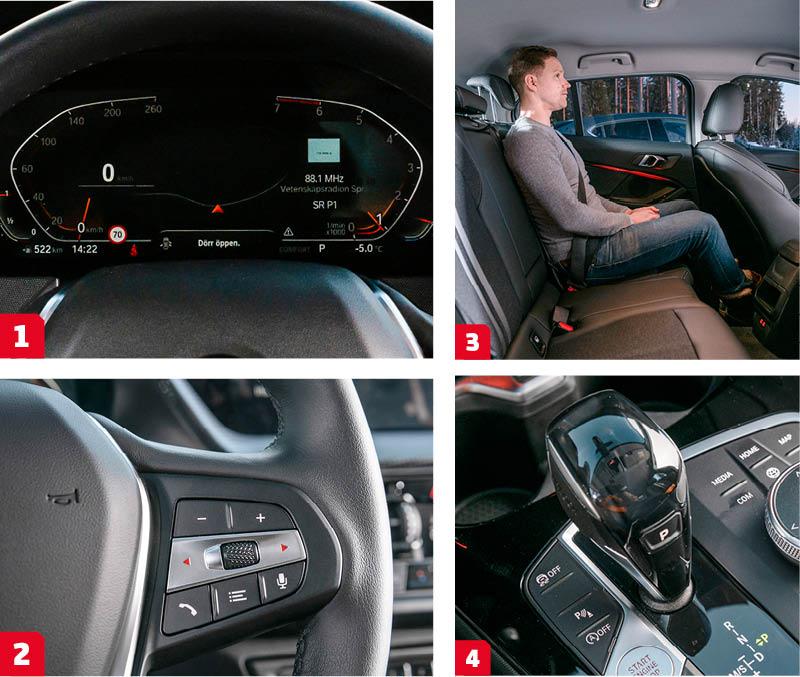 BMW: 1. Snygg och prydlig digital instrumenttavla. Men så kostar det 20000 kr. 2. Stora och tydliga tryckknappar på BMW:s ratteker. Det smidiga scrollhjulet kan även styra funktionerna i head up-displayen (för 18800 kr extra).  3. Bra benutrymme, hög sittposition och luftig miljö med bra sikt. Tyvärr platt sittdyna och tydlig hjulhuskänning för armbågen. 4. Lilla 118i har en sjuväxlad dubbelkopplingslåda som inte arbetar lika smidigt som BMW:s traditionella åttastegade automatlåda.