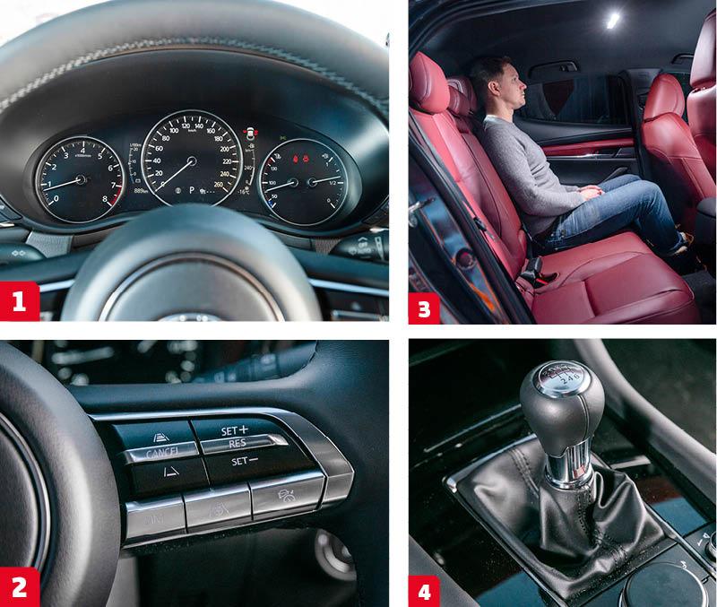 Mazda: 1. Traditionell layout trots att hastighetsmätaren är helt digital. Bäst läsbarhet i gänget. 2. Sämre läsbarhet har de kromade rattknapparna. Tack vare belysta symboler går de att se tydligt i mörker, svårare dagtid.  3. Trots en decimeter längre kaross än BMW, har Mazda testets trängsta baksäte. Godkänt benutrymme men låg takhöjd. Små glaspartier ger en instängd känsla. 4. En av bilvärldens smidigaste manuella växellådor. Kortslagig och fin mekanisk känsla ger nästan lite retrovibbar bland alla automatlådor på 20-talet.