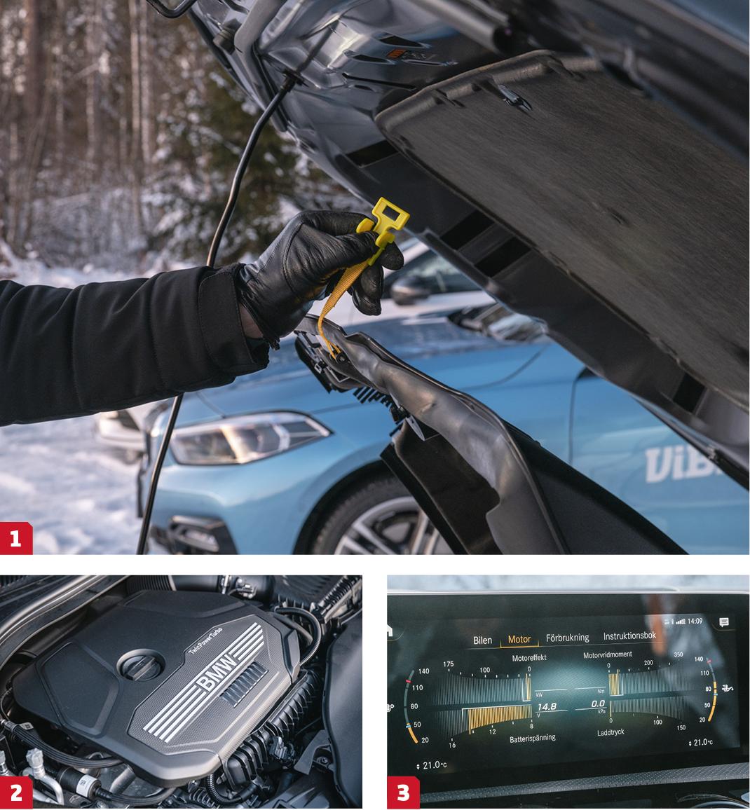 """1. Mazda är stolta över världens första """"diesotto""""-motor. Motorkåpan har fått en egen upphängningsflärp så alla kan ta en rejäl titt.  2. Under BMW-huven ruvar en halv sexa vänd på tvären.  3. Mercedes stora menyskärm ger intressant telemetri på vad den fina 1,3-litersmaskinen har för sig."""