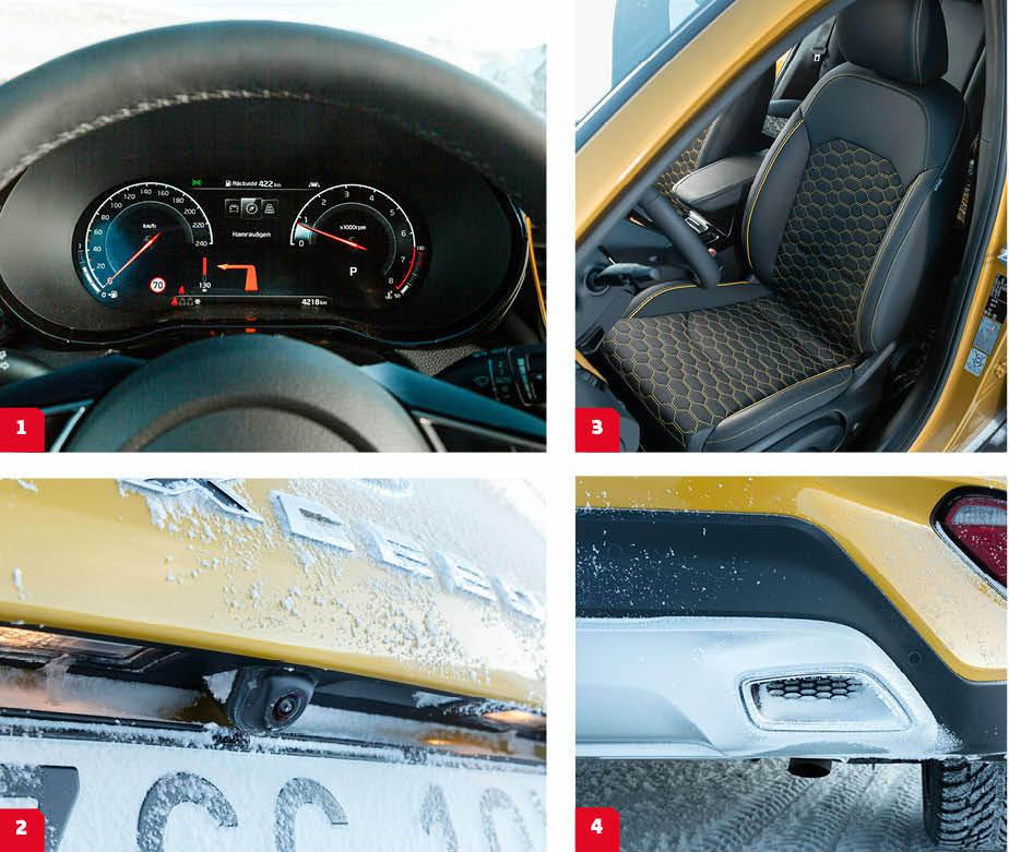 Kia: 1. Kia Ceeds analoga mätartavlor har ersatts av en skärm i XCeed. Kia använder inte displayens möjligheter att visa kartbild och så vidare, men skärmen är skarp och mätarna föredömligt tydliga.   2. Likt Mazda finns ingen rengöring av backkameran vilket snabbt gör den överflödig på våra breddgrader. I T-Roc skyddas kameran när den inte används. 3. Gulrutig klädsel livar upp. Dörröppningarna har klarlackats, men bagageluckans karmar är inte klarlackade och lackskicktet är synbart tunt. Svagt. 4. Lurifax. Det riktiga avgasröret mynnar ut under bilen.