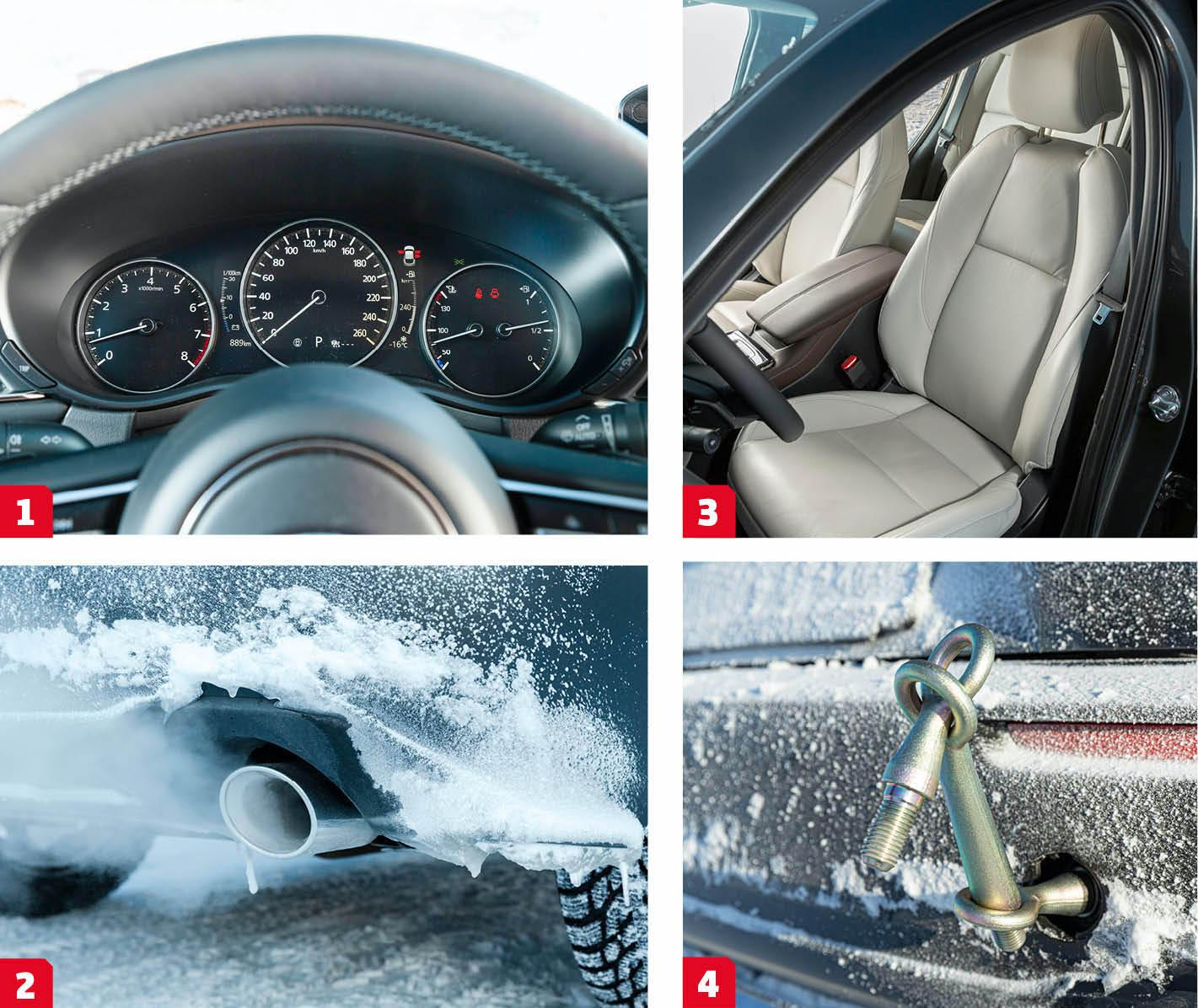Mazda: 1. Digital hastighetsmätare flankeras av analoga mätare för varvtal, temperatur och bränslemängd. Likt Kia används inte displayen till att visa kartbild eller liknande, bara för att ändra utseende på mätaren. 2. Äkta vara. CX-30 skäms inte för sig, båda avgasrören har den funktion de utger sig för att ha.  3. Knappen för att sänka nackstödet sitter inklämd mellan nackstöd och stol, svårt att sänka nackstödet under körning. 4. Dubbla bogseröglor bak och en längre ögla fram. Ovanligt och praktiskt när bilen kör fast och behöver hjälpas loss.