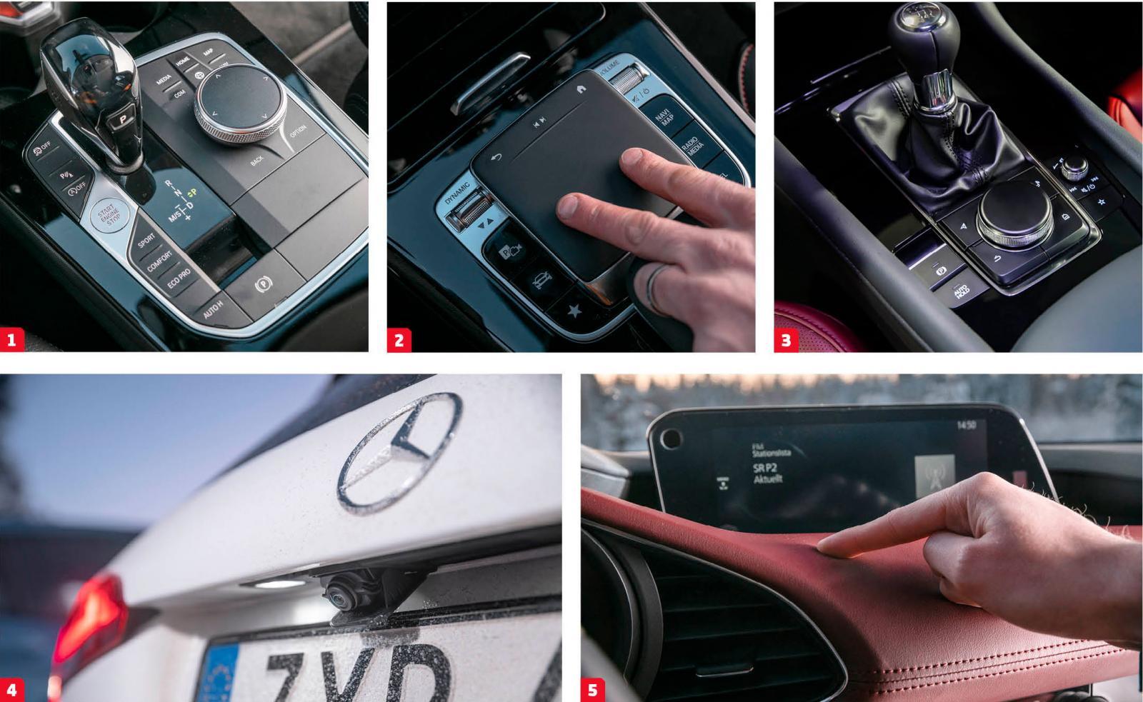 1. BMW har samlat många knappar runt växelspaken.  2. Smidig finger-zoom på navigationskartan i Mercedes.  3. Mazda har enklast handhavande av menyskärmen.  4. Tittut! Mercedes backkamera hålls gömd till backen läggs i. Det gör att linsen skyddas mot stänk och alltid ger en klar bild. Ovärderligt i vinterslasket.  5. Mazdas läderpanel har en mjuk stoppning och ger en rejäl portion lyxkänsla. Ingår i Cosmo-paket, fast oxblodsrött kostar 3000 kr extra.