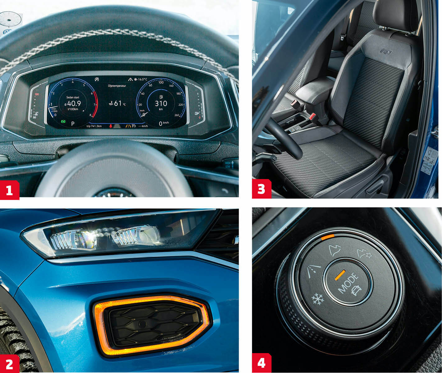 """Volkswagen: 1. En bekant syn, samma instrumentdisplay används i bland annat VW Polo och Passat. De """"analoga"""" mätarna har något små siffror. Det går att ändra till en annan vy med tydligare, digitala, siffror. 2. Det ska mycket till för att man ska missa en blinkande T-Roc, hela DRL-ljuset förvandlas till blinkers. 3. Bekväm sportstol i R-Lineutförande. Svankstöd justeras """"på pinne"""" och då bara in/ut. 4. Körlägen för mer terrängkompetens. Bergskedjan markerar """"offroad"""" vilket bland annat innebär urkopplat antispinnsystem."""
