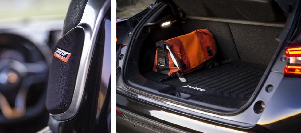 Likt Micra kan Juke få högtalare på nackstödets ytterkanter som ska ge en 360-gradig ljudbild. Med tilltaget utrymme under bagagegolvet ryms 422 liter – bra! Men coupéformen stjäl plats i höjdled.