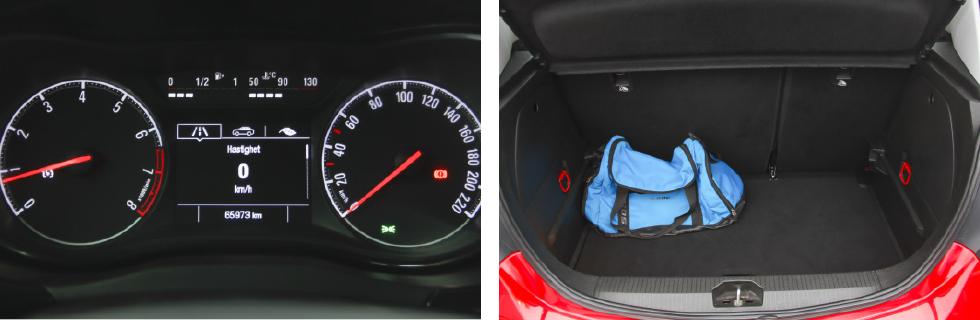 Instrumenten är tydliga med både analog och digital hastighetsmätare. Bagageutrymmet sväljer fem läskbackar eller 285 VDA-liter.
