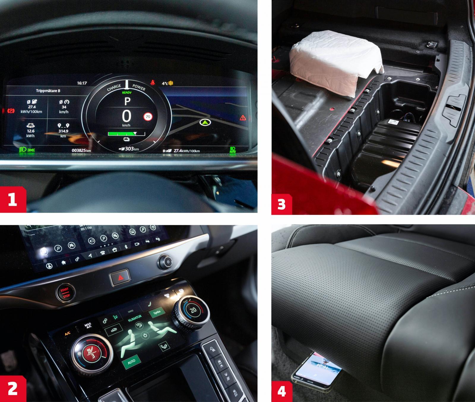 """1. Den som föredrar kan få en mer traditionell instrumentvy, men Jaguars """"energiuttagmätare"""" är tydlig. Viss fördröjning i grafiken dock.  2. Pekskärmsdisplay för klimatanläggningen, skärmen kan även visa mediainformation och grafik. Placeringen är låg och kräver uppmärksamhet vid användning.  3. En te-hätta? Ja, nästan. Gräver man sig ned i Jaguars bagageutrymme stöter man slutligen på pumpen till luftfjädringen, hättan ska dämpa ljudet från kompressorn. Elbilar är tysta... 4. Under baksätet finns två förvarningsfack för exempelvis mobiltelefon eller surfplatta."""
