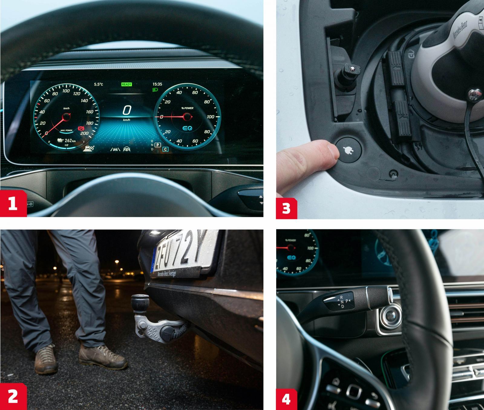 1. EQC använder samma skärmlösning som i övriga MB-familjen. Samma grafik, samma funktion och samma kritik: instrumenttavlorna är i minsta laget för att vara tydliga.  2. Elektriskt utfällbar dragkrok, unikt i elbilsvärlen. (Tesla och Audi har avtagbara drag.)  3. Föredömligt enkelt att låsa upp och lossa sladden, förutsättningen är att bilnyckeln finns inom räckhåll.  4. Titta på växelspaken till höger. Även knappsatsen till sidospeglar och elhissarna lånas från Stuttgart. I utbyte fick Mercedes använda Teslateknik i numera nedlagda B-klass Electric Drive.