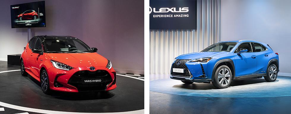 Nya Yaris (till vänster) är mindre på utsidan men rymligare inuti än föregångaren. Kommer i sommar. Lexus UX300e (till höger) är märkets första helt elektriska bil. Räckvidd upp till 30 mil enligt WLTP.