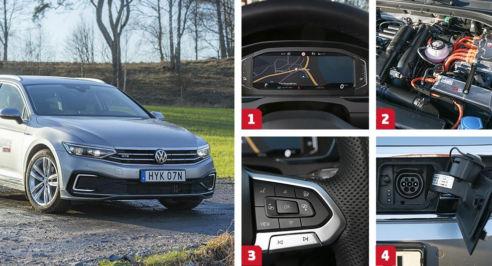 1. Volkswagen erbjuder (förstås) också ändringsbar digital visning i instrumenthuset, men här är priset 6200 kronor. || 2. Anblicken under huven är nästan identisk med Skodas och de tekniska specifikationerna är helt lika. I Passat fungerar samarbetet med DSG-lådan bättre än i Superb. || 3. VW har skippat kombinationen rulle/knapp för rattreglagen, till förmån för enbart knappar. Bättre? Nja. || 4. Laddlucka längst fram i VW och Skoda, med praktisk lockhållare. Volvo har laddkontakten i vänster framskärm.