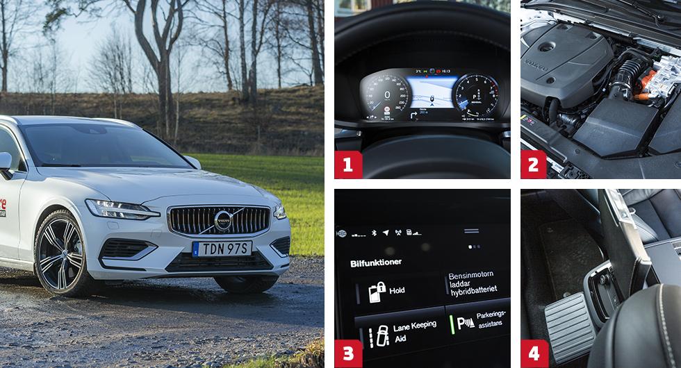 1. Den digitala förardisplayen är standard i Inscriptionutförandet av V60. Den lilla färddatorn nere till höger i visningen är trassligare att använda än motsvarigheten i Skoda/VW. || 2. Elastisk och urstark kombination av bensin- och elmotorer i Volvo, men till priset av testets högsta förbrukning. Utmärkt automatväxellåda. || 3. Tvångsstyrning av batteriladdningen via bensinmotorn finns i alla tre. || 4. Volvos längsplacerade batteripaket stjäl utrymme i baksätet – mittunneln är hög och fler än två passagerare får inte plats.