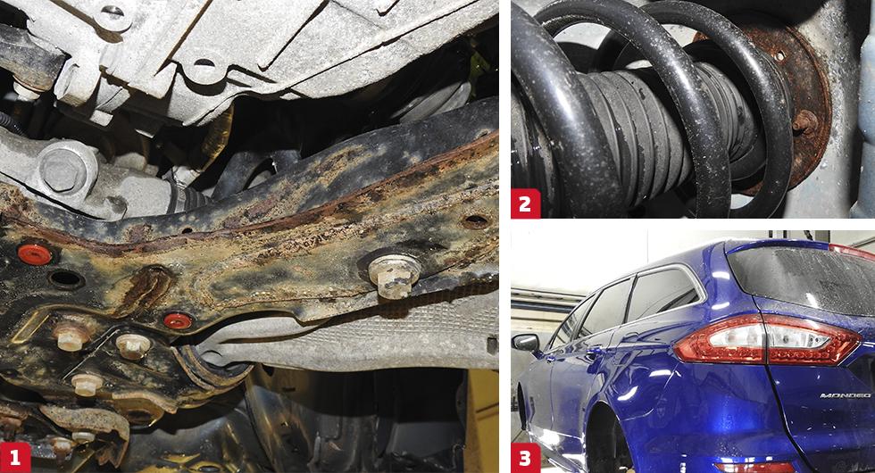 1. Motorvaggan är ordentligt rostig och har rest sig i svetsfogen som saknar färg vilket får fukt att tränga in. Vaggans gods är fem gånger tjockare än karossen men kommer på sikt att rosta sönder. || 2. Ett fjäderbenslager är tänkt att hålla bilens livslängd vilket inte lär inträffa här. På sikt sprider sig rosten och angriper fjäderbenstornet. || 3. Trots 6272 mil på mätaren var denna lågmilare rostigast av de tre Mondeo -15 som Vi Bilägare rostinspekterat.