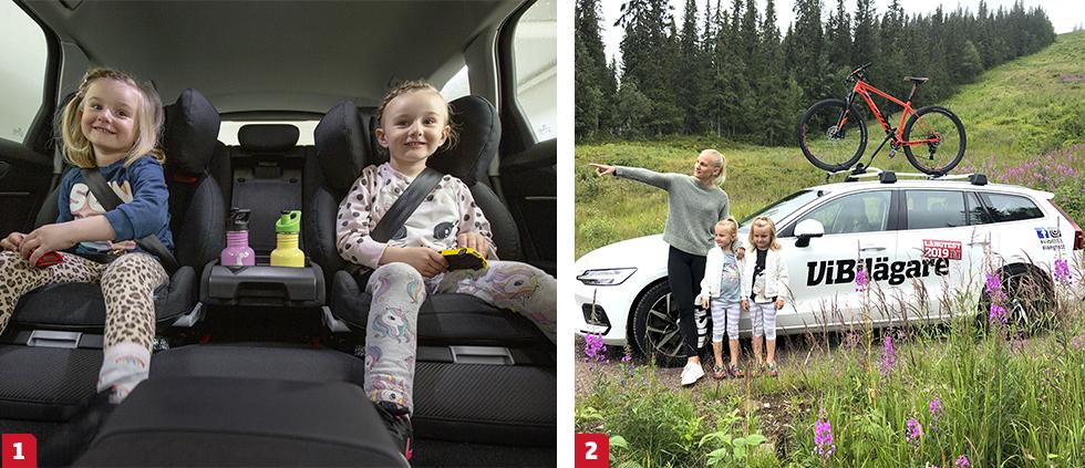 1. Testlagets juniorsektion består av sex medlemmar mellan två och 13 år. Här testar Elsa och Vera (båda fem år) åkkomforten i Audi A6. || 2. Det är inte bara långtestförarna på redaktionen som betygsätter bilarna – alla i familjen hjälper till att sätta dem på prov i vått och torrt, vardagslunk och semesteraktiviteter.