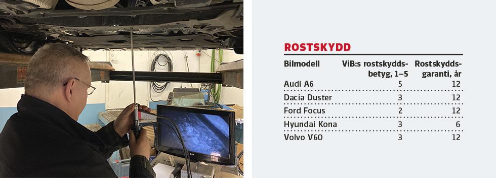 Med sin titthålskamera går Thomas Widström på jakt efter dold rost i bilarnas konstruktion.
