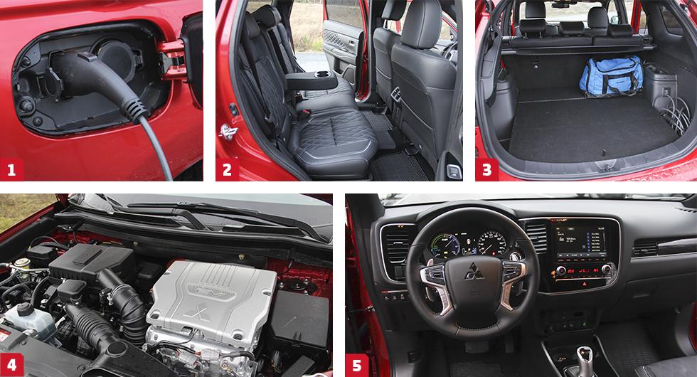 1. Ladda el till bilen görs via uttaget vid höger bakflygel. | 2. Baksätet är rymligt och bekvämt för de flesta. | 3. Bagageutrymmet sväljer 463 VDA-liter i normalläge. | 4. Dubbla motorer, både bensin- och el, ger 203 eller 230 hk. | 5. Tydliga instrument, men vissa reglage är lite utspridda.
