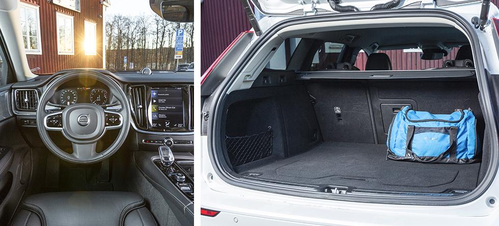 Man närmast ramlar in i den låga V60, men på plats har man en utmärkt, bekväm förarmiljö som är lättskött och känns mer påkostad än de andras. Volvo är klart trängst för bagaget, även om den angivna volymen är jämförlig med de båda andras. Bra bredd men sämre höjd, totalt sett fick vi in 28 backar som mest, mot 35 respektive 36 i Skoda/Volkswagen.