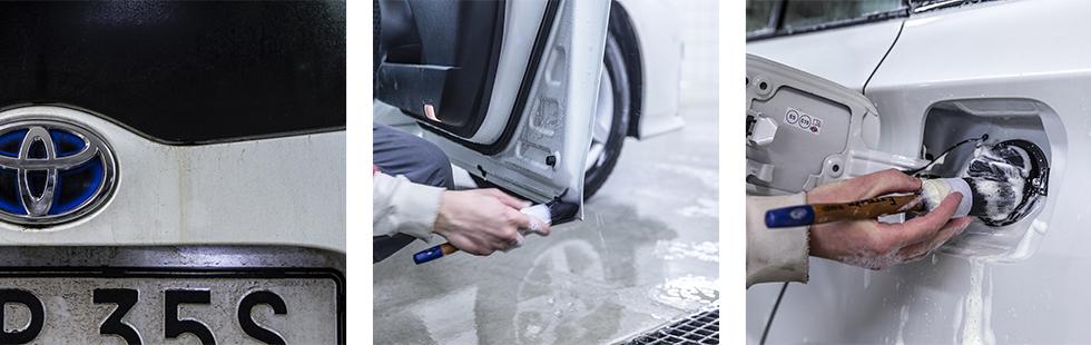 Uppluckrad tjära förvandlas till brunaktiga ränder.  || Kallavfettningen kan sprayas direkt på penseln för att bearbeta karossens mer intrikata delar. || En mjuk och större pensel underlättar runt trånga detaljer som tanklock, gångjärn och dörrspringor.