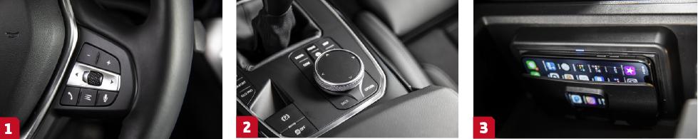 1. BMW koncentrerar ljudanläggningens styrning till höger ratteker.    2. Kontrollvredet har en pekyta för att skriva in exempelvis adress.    3. Fiffig induktionsladdning kostar 4600 kronor, då ingår även ACP.