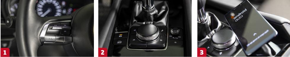 1. Knapparna har bitvis otydlig grafik, bra funktion dock.    2. Kontrollvred för menysystemet, stjärnan är en genvägsknapp.    3. Vår Mazda 3 har bekymmer med kopplingen till AA.