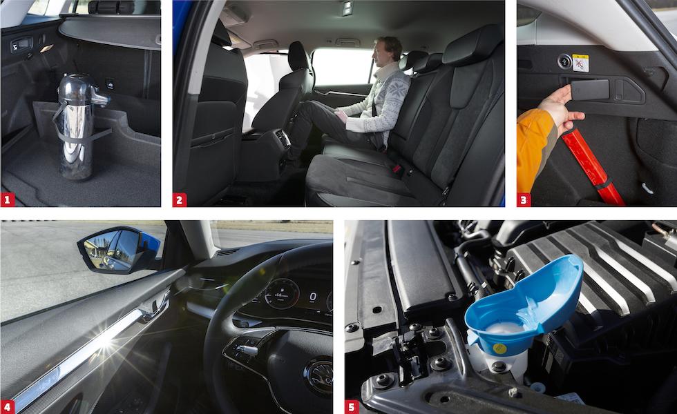 """1. Renaults uppfällbara bagagestöd har inbyggda resårband – praktiskt! 2. Skoda har det klart bästa baksätet för vår långe testchaufför Joakim Bergqvist. 3. Fjärrfällning av de bakre ryggstöden är numera snudd på självklarhet. Här är reglaget i Ford Focus. 4. Skodas dörrlister må vara snygga men reflexerna blixtrar rakt i ögonen när vårsolen ligger på. 5. Som så ofta med Skoda är också nya Octavia försedd med en del smarta, nästan självklara lösningar. Påfyllningslocket för spolarvätskan är av en """"hårdmjuk"""" kvalitet och kan vecklas ut till en rejäl tratt som eliminerar spillet med de dyra dropparna."""