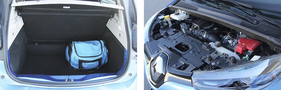 Bagageutrymmet håller normal småbilsstandard. || Elmotorn kräver mindre underhåll än en bensin- eller dieselmotor.