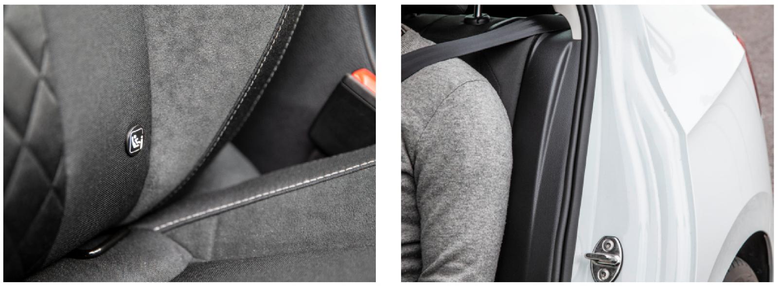 Till vänster: Isofixfäste fram ger fler säkra sittplatser för barnstolar. Här Skoda. Till höger: Som enda testbil har VW sidokrockkudde bak –  dock tillval.