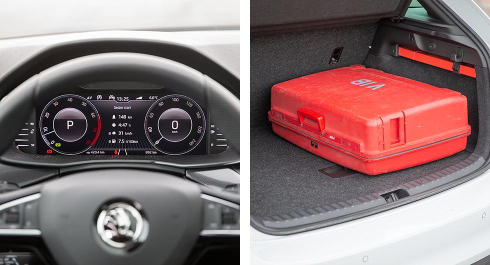 Med Premiumpaketet följer digitalt instrumentkluster som har en rörig utformning. Vi föredrar de analoga mätartavlorna. Bagaget i Skoda är rymligast av alla. Lättlastat med låg tröskel.