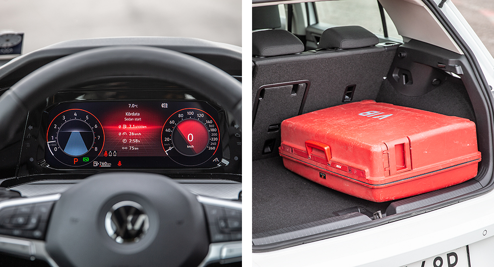 Golfs digitala instrument är standard och det går att anpassa vyer och färger i oändlighet. Rätt inställt är läsbarheten bättre än i förra generationens digitala kluster.  Hela 13 centimeter kortare lastgolv än i Skoda Scala. Vår resväska måste placeras på tvären för att bakluckan ska gå igen.