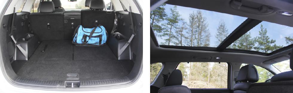 Hög lastkant, men mycket rymligt bagageutrymme. || Panoramaglastak är snyggt, men kan krångla.