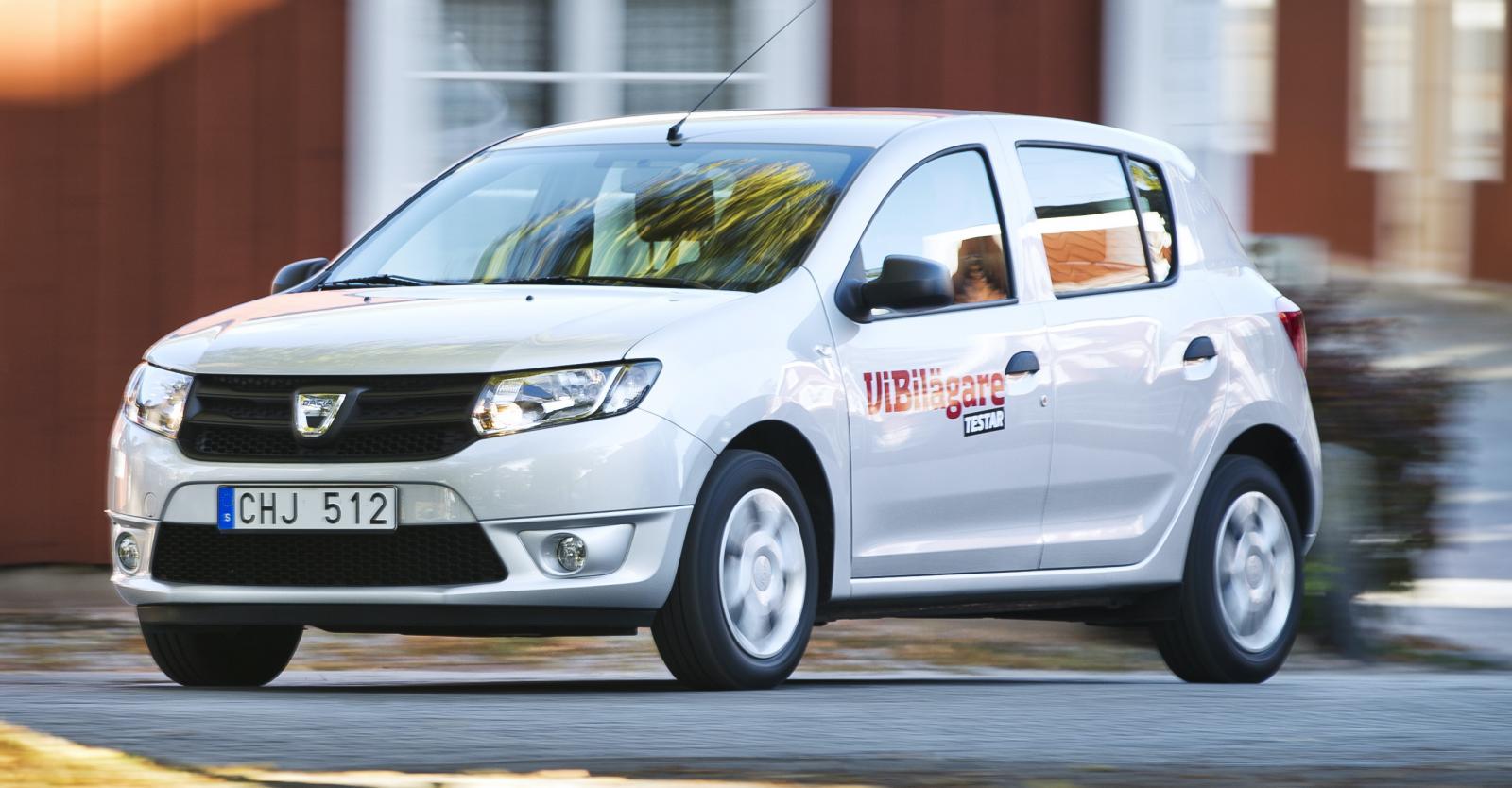 Dacia Sandero har visserligen lägst månadskostnad i vår jämförelse, men det krävs en kontantinsats. Med den utslagen blir modellen inte längre billigast.