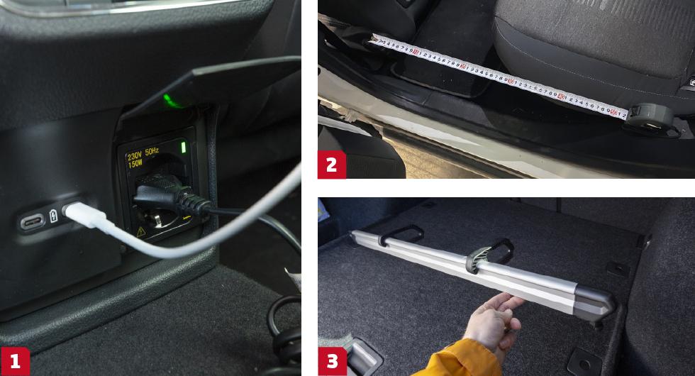 1. Uttag för ström och multimedia för dem där bak kostar 2500 kronor extra i Skoda. 2. Instegsmåttet avslöjar en del om hur knepigt eller lätt det kan vara att knixa in exempelvis en barnstol i baksätet. Ford på bilden mäter 62 centimeter, Skoda 67 cm och Renault 58. 3. Lättflyttad lastavdelare i Octavia.