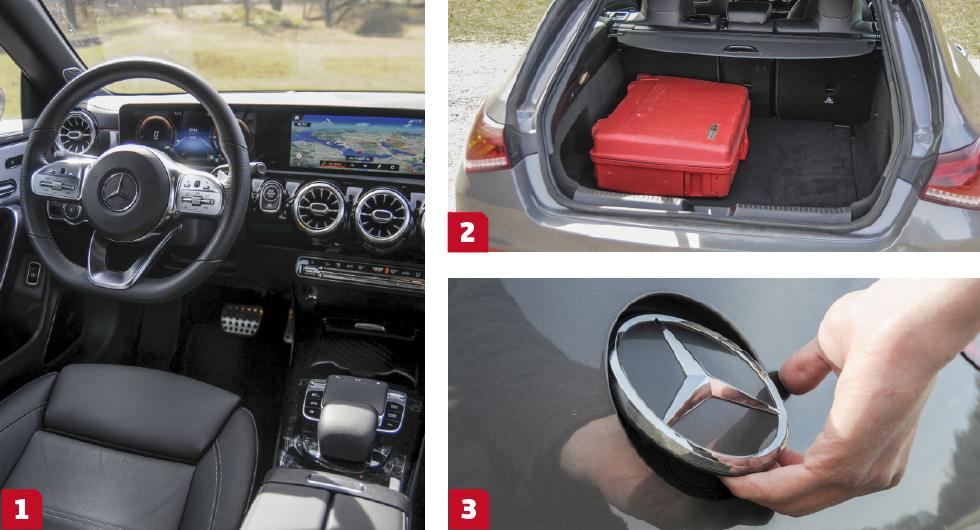 1. Den påkostade interiören ger en härlig körupplevelse.  2. Hyfsad bagagevolym men den sluttande luckan känns opraktisk. 3. Bakluckan öppnas med hjälp av den runda Mercedes-loggan.
