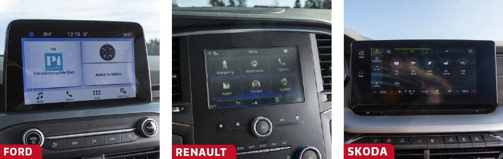 """Fords skärm är inte så stor men har tydlig och logisk grafik och enkel skötsel med både knappar och fingertryck. Mycket snabb bluetoothkoppling och bra B&O-ljud! GT Line-utförandet av Megane betyder märkligt nog en ganska liten, simpel och begränsad version av Renaults R-link. Inga problem med handhavandet dock. Skodas nya system har massor av innehåll och möjligheter. I skärmens underkant anas """"listen"""" längs vilken man drar fingret för att justera ljudvolymen."""