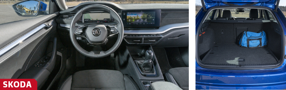 """Klart modernare och slankare former i Octavia som dessutom utrustats med tvåekrad ratt. Bra tryckknappar, något bökigare rattreglage än förr. Klassens storlastare har regelbundet format bagageutrymme och ovanligt bra bredd """"hitom"""" hjulhusen, över 1,5 meter. Utförandet verkar tåligt och det finns vettiga detaljer som bagagekrokar med mera, men maximal tillåten last är paradoxalt nog lägre än för Ford och Renault."""