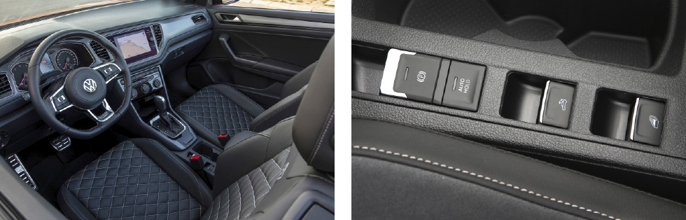 Stilig och lättförstådd interiör || Taket justeras enkelt via en knapp bredvid förarsätet.