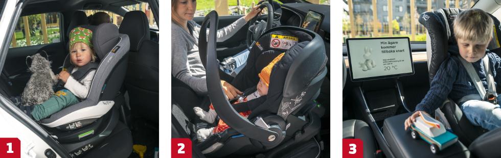 1. Vår Corolla må se ut som en rymlig familjebil, men trångt baksäte gör att bakåtvända bilbarnstolar inte får plats bakom en normallång förare. || 2. Renault Clio är ensam i gänget med Isofixfäste fram. Det ger fler säkra placeringsalternativ för bilbarnstolen eller babyskyddsbasen. || 3. Tesla har både ett hundläge och ett campingläge som håller kupén sval i sommarsolen medan föraren springer iväg på ett ärende. Det gör att barnen kan stanna kvar i bilen (med en vuxen!) under tiden.