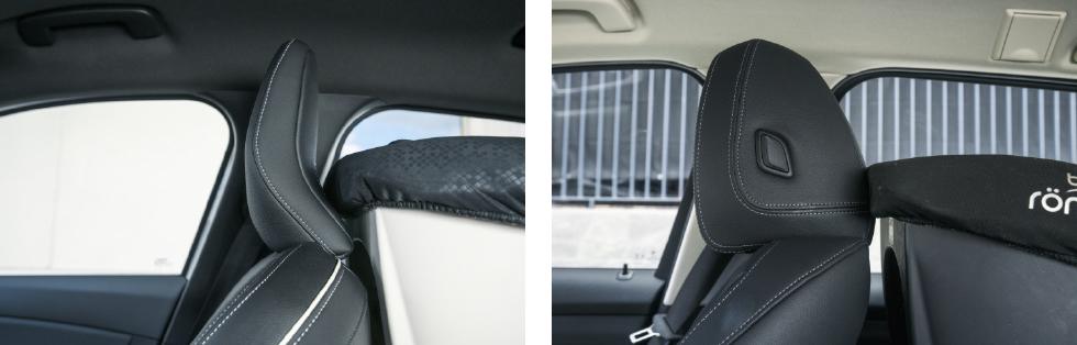 Clio (vänster) kompenserar sitt korta baksäte med smidig nackstödsutformning som ger plats åt barnstolen. BMW:s nackstöd (höger) är desto mer skrymmande.