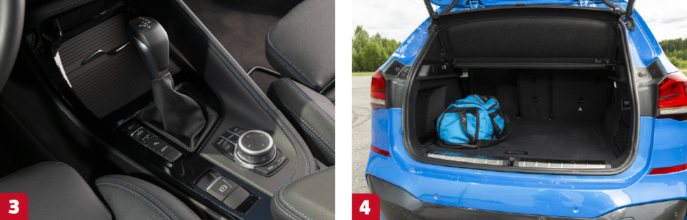 3. Laddhybriden är ensam i X1-familjen om sexstegad momentomvandlare. || 4. Av de kompakta suvarna är det BMW som har bäst innerutrymmen och rymligast bagage. Lutningsbart ryggstöd bak uppskattas.