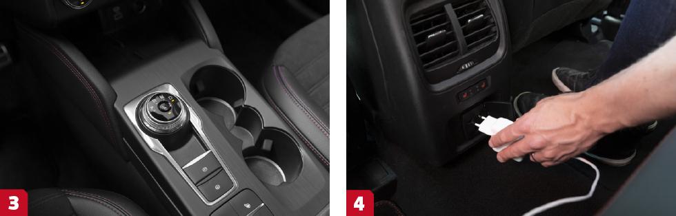 3. I sina hybrider använder Ford en steglös CVT-låda lik den i Toyotas hybrider. Det ger en smidig drivlina. Speciellt uppskattad i stadstrafik. || 4. Nej, du kan inte ladda bilen men både Ford och Peugeot går att få med vanligt ladduttag i baksätet – dock reducerad effekt.
