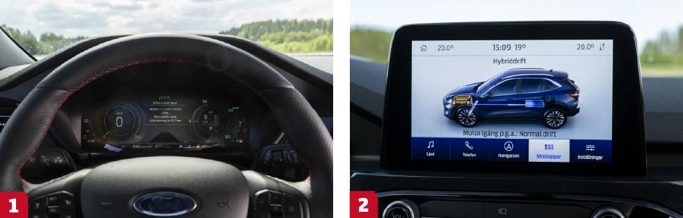 1. Stort digitalt instrumentkluster, men rörig grafik. Byte av körprogram trollar bort hastighetesmätaren under flera sekunder. Irriterande. || 2. Krispig och klar menyskärm som känns igen från övriga Ford-familjen.