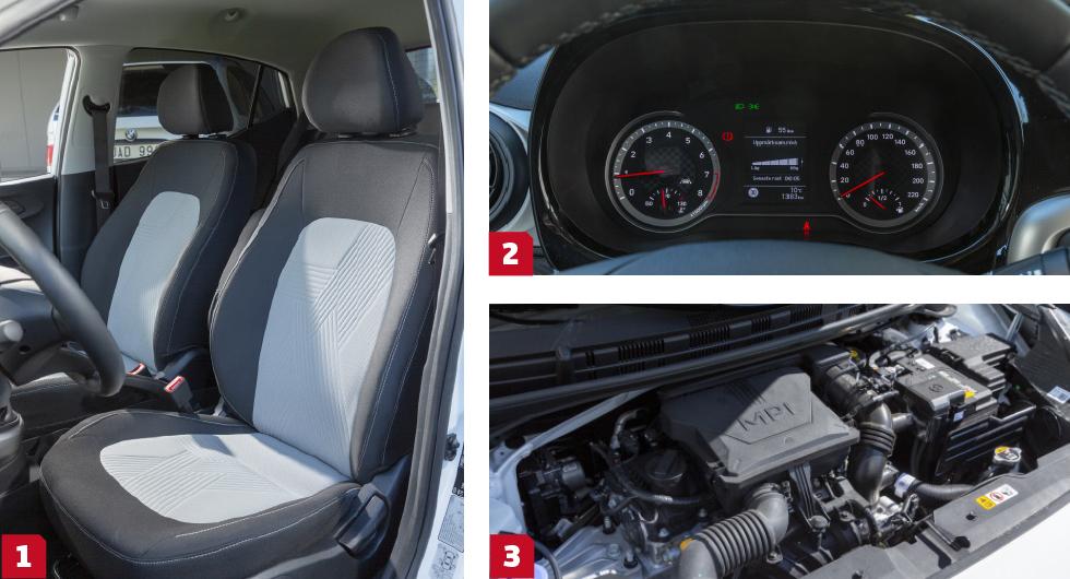 1. Somliga förare gillade stolarna, andra inte. Nedfällbart armstöd i testversionen förhöjer i alla fall långfärdskomforten. || 2.  Föredömligt tydliga analoga mätare, trots att de är små. En lättskött färddator mellan tavlorna ger vettig information. || 3.  Den trecylindriga motorn går tyst, snålt och vibrationsfritt men fartresurserna är plågsamt dåliga. I förra modellen var samma maskin klart piggare.
