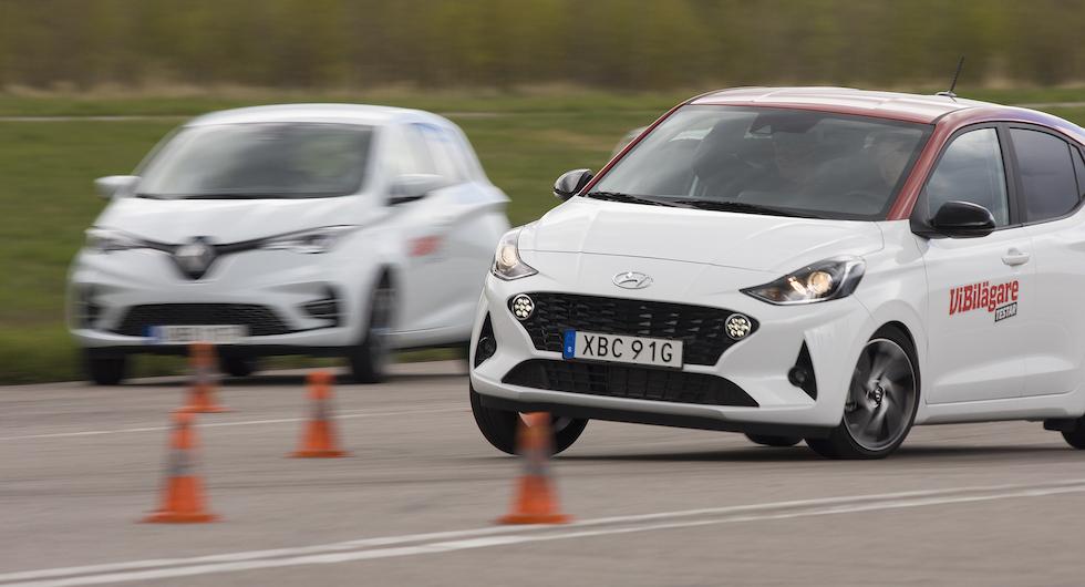 Hyundai klarar ca 75 km/tim genom konbanan, Zoe som tittar på mäktar med 77 och e-Up bara 72.