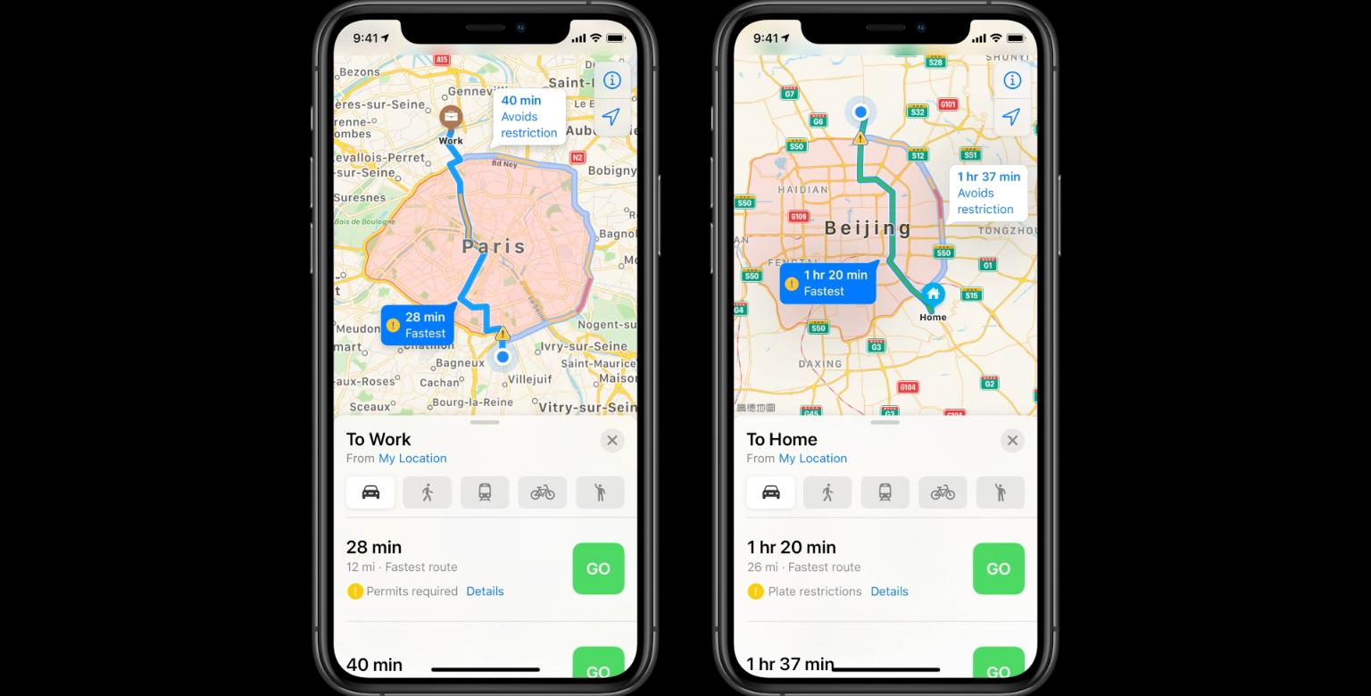 Apples kartapp kan nu visa miljözoner.