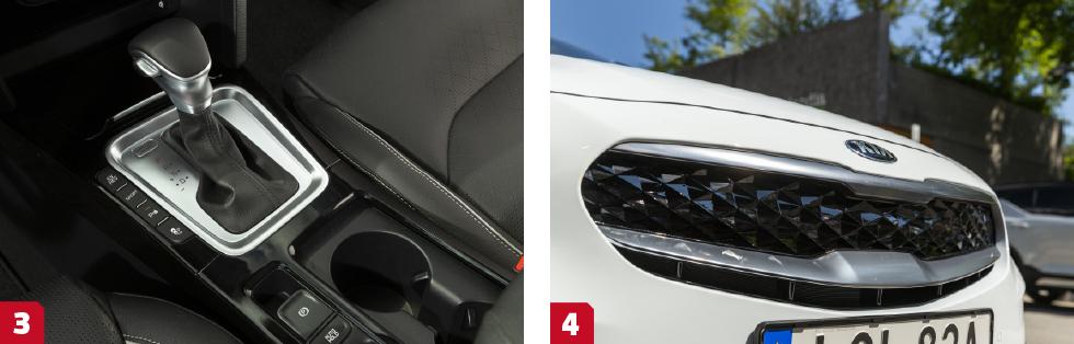 3. I laddhybriden använder Kia en sexstegad dubbelkopplingslåda. || 4. Täppt i näsan. Laddhybriden har en solid grill, som ger lägre luftmotstånd. Det rutiga mönstret gör dock att grillen ser ut att ha ett klassiskt galler.